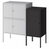 ЛИКСГУЛЬТ Комбинация шкафов, серый, антрацит, 95x35x92 см
