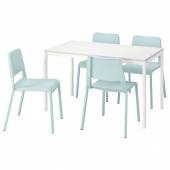 МЕЛЬТОРП / ТЕОДОРЕС Стол и 4 стула, белый, светлая бирюза, 125 см