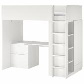 СМОСТАД Кровать-чердак, белый белый, с письменным столом с 3 ящиками, 90x200 см