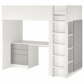 СМОСТАД Кровать-чердак, белый серый, с письменным столом с 4 ящиками, 90x200 см