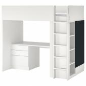 СМОСТАД Кровать-чердак, белый поверхность доски для записей, с письменным столом с 4 ящиками, 90x200 см