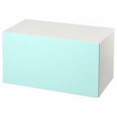 СМОСТАД Скамья с отделением для игрушек, белый, бледно-бирюзовый, 90x50x48 см