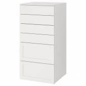 СМОСТАД / ОПХУС Комод с 6 ящиками, белый с рамой, 60x55x123 см