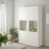 БЕСТО Комбинация д/хранения+стекл дверц, Ханвикен, Синдвик белый прозрачное стекло, 120x40x192 см