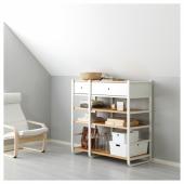 ЭЛВАРЛИ 2 секции, белый, бамбук, 125x55x126 см