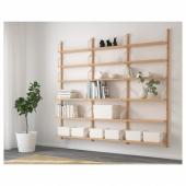 СВАЛЬНЭС Комбинация полок, бамбук, 193x25x176 см