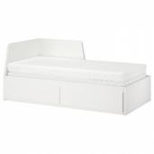 ФЛЕККЕ Кушетка с 2 матрасами/2 ящиками, белый, Малфорс средней жесткости, 80x200 см