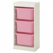 ТРУФАСТ Комбинация д/хранения+контейнеры, белый, розовый, 46x30x94 см