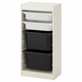 ТРУФАСТ Комбинация д/хранения+контейнеры, белый, белый черный, 46x30x94 см