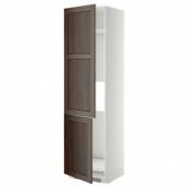 МЕТОД Высокий шкаф д/холод/мороз/2дверцы, белый, Эдсерум коричневый, 60x60x220 см
