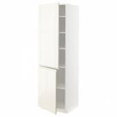 МЕТОД Высокий шкаф с полками/2 дверцы, белый, Воксторп глянцевый светло-бежевый, 60x60x200 см