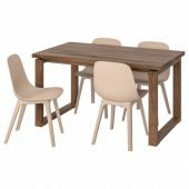 МОРБИЛОНГА / ОДГЕР Стол и 4 стула, коричневый белый, бежевый, 140x85 см