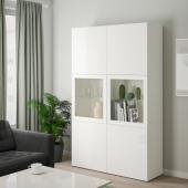 БЕСТО Комбинация д/хранения+стекл дверц, белый, Сельсвикен глянцевый/белый прозрачное стекло, 120x40x192 см