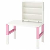 ПОЛЬ Письменн стол с полками, белый, розовый, 96x58 см
