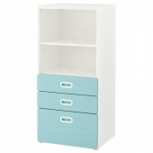 СТУВА / ФРИТИДС Стеллаж с ящиками, белый, голубой, 60x50x128 см