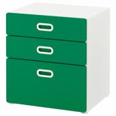 СТУВА / ФРИТИДС Комод с 3 ящиками, белый, зеленый, 60x64 см