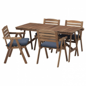 ФАЛЬХОЛЬМЕН Стол+4 кресла, д/сада, светло-коричневая морилка, ФРЁСЁН/ДУВХОЛЬМЕН синий