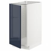 МЕТОД Наполный шкаф д/мойки/мусорн конт, белый, Ерста черно-синий, 40x60 см