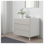 ОПХУС Комод с 3 ящиками, белый, Скатваль светло-серый, 80x57x73 см