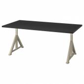 ИДОСЕН Письменный стол, черный, бежевый, 160x80 см