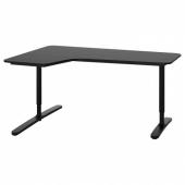БЕКАНТ Углов письм стол левый, ясеневый шпон/черная морилка, черный, 160x110 см