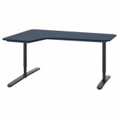 БЕКАНТ Углов письм стол левый, линолеум синий, черный, 160x110 см