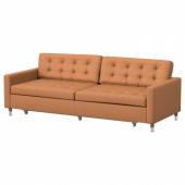 ЛАНДСКРУНА 3-местный диван-кровать, Гранн, Бумстад золотисто-коричневый/металл