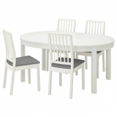 БЬЮРСТА / ЭКЕДАЛЕН Стол и 4 стула, белый, Рамна Оррста светло-серый, 115 см