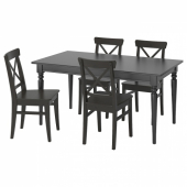 ИНГАТОРП / ИНГОЛЬФ Стол и 4 стула, черный, коричнево-чёрный, 155/215 см