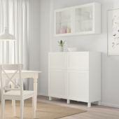БЕСТО Комб для хран с дверц/ящ, белый, ХАНВИКЕН/СТУББАРП белый прозрачное стекло, 120x42x240 см