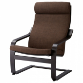ПОЭНГ Кресло, черно-коричневый, Шифтебу коричневый