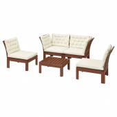 ЭПЛАРО 4-местный комплект садовой мебели, коричневая морилка, Куддарна бежевый