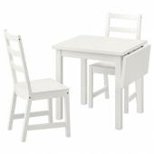 НОРДВИКЕН / НОРДВИКЕН Стол и 2 стула, белый, белый, 74/104x74 см