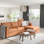 ВИМЛЕ 3-местный диван, с козеткой с изголовьем, Гранн/Бумстад золотисто-коричневый