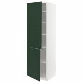 МЕТОД Высокий шкаф с полками/2 дверцы, белый, Будбин темно-зеленый, 60x60x200 см