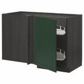 МЕТОД Угловой напол шкаф с выдвижн секц, черный, Будбин темно-зеленый, 128x68 см