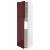 МЕТОД Высокий шкаф д/холодильника/2дверцы, белый Калларп, глянцевый темный красно-коричневый, 60x60x220 см