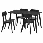 ЛИСАБО / ЛИСАБО Стол и 4 стула, черный, черный, 140x78 см