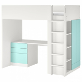 СМОСТАД Кровать-чердак, белый бледно-бирюзовый, с письменным столом с 4 ящиками, 90x200 см