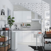 КНОКСХУЛЬТ Кухня, глянцевый, белый, 180x61x220 см