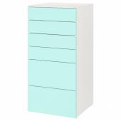 СМОСТАД / ОПХУС Комод с 6 ящиками, белый, бледно-бирюзовый, 60x55x123 см