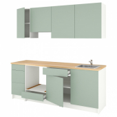 КНОКСХУЛЬТ Кухня, серо-зеленый, 220x61x220 см