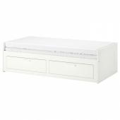 БРИМНЭС Кушетка с 2 матрасами/2 ящиками, белый, Малфорс жесткий, 80x200 см