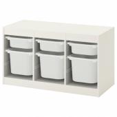 ТРУФАСТ Комбинация д/хранения+контейнеры, белый, белый, 99x44x56 см