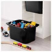 ТРУФАСТ Комбинация д/хранения+контейнеры, белый, черный, 46x30x145 см
