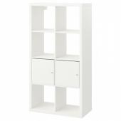 КАЛЛАКС Стеллаж с 2 вставками, белый, 77x147 см