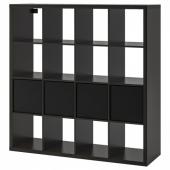 КАЛЛАКС Стеллаж с 4 вставками, черно-коричневый, черный, 147x147 см