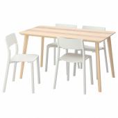 ЛИСАБО / ЯН-ИНГЕ Стол и 4 стула, ясеневый шпон, белый, 140x78 см