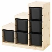ТРУФАСТ Комбинация д/хранения, светлая беленая сосна, черный, 94x44x91 см