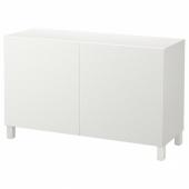 БЕСТО Комбинация для хранения с дверцами, белый, Лаксвикен белый, 120x40x74 см
